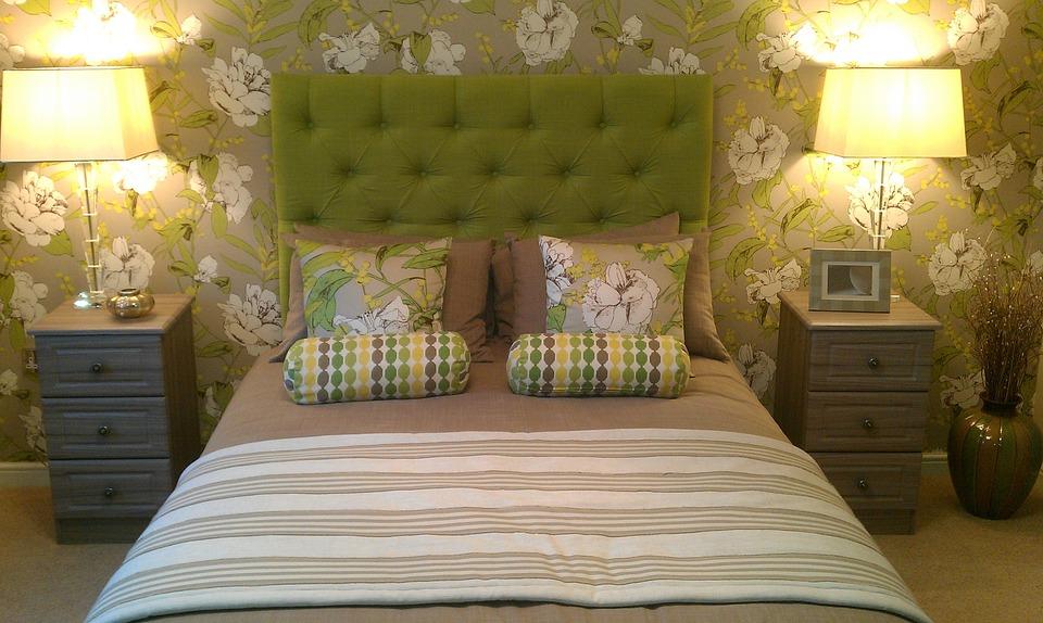 decoración del dormitorio verde.